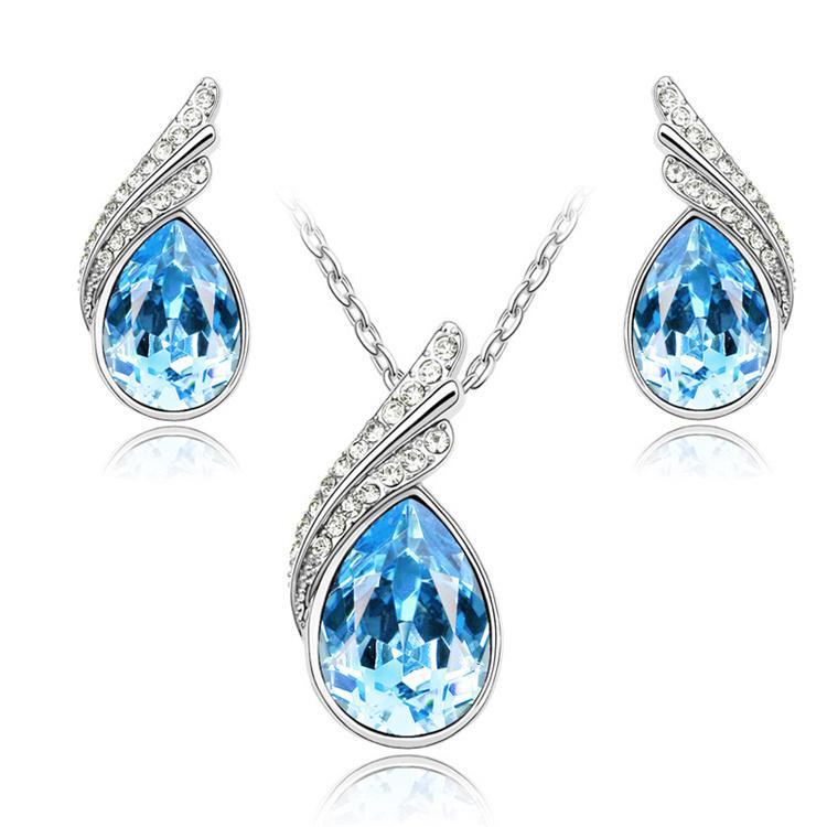 Aretes de moda collar conjunto brillante collar de cristal y aretes de joyería de la boda establece accesorios nupciales A39 + B66