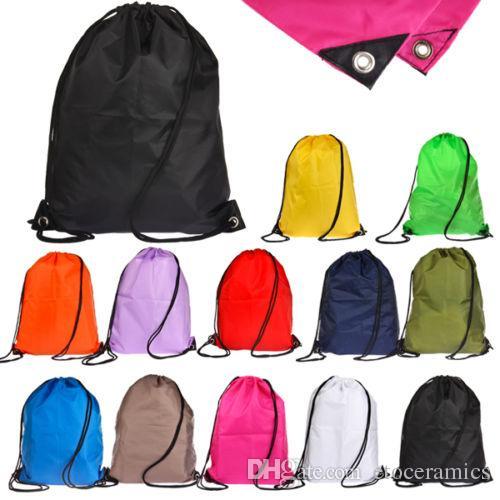 2016 hotsale 공장 직접 10 색상 방수 수영 학교 책 스포츠 단색 Drawstring RuckSack 가방 자루 배낭
