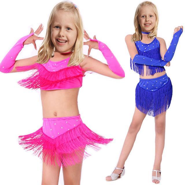 Latina Salón Vestidos Niño Niños Para New De Baile Compre Borlas t4wOqpx
