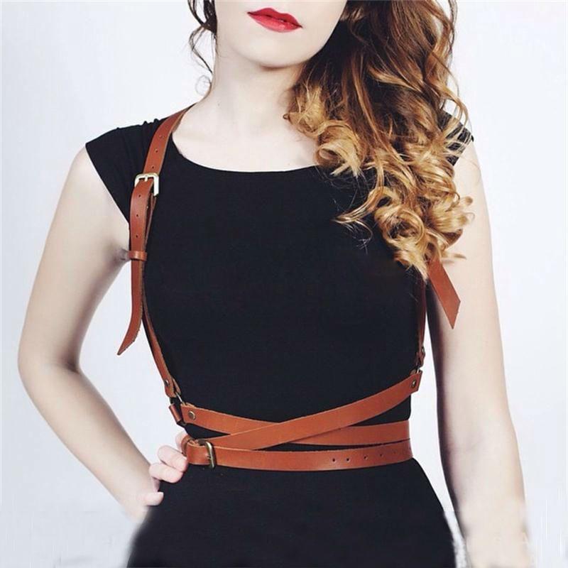 Wholesale Harness Fashion Handmade Leather Harness Punk Gothic Body Bondage  Cage Shoulder Wraped Waist Straps Suclptin Big Sale! 74484b66e0a