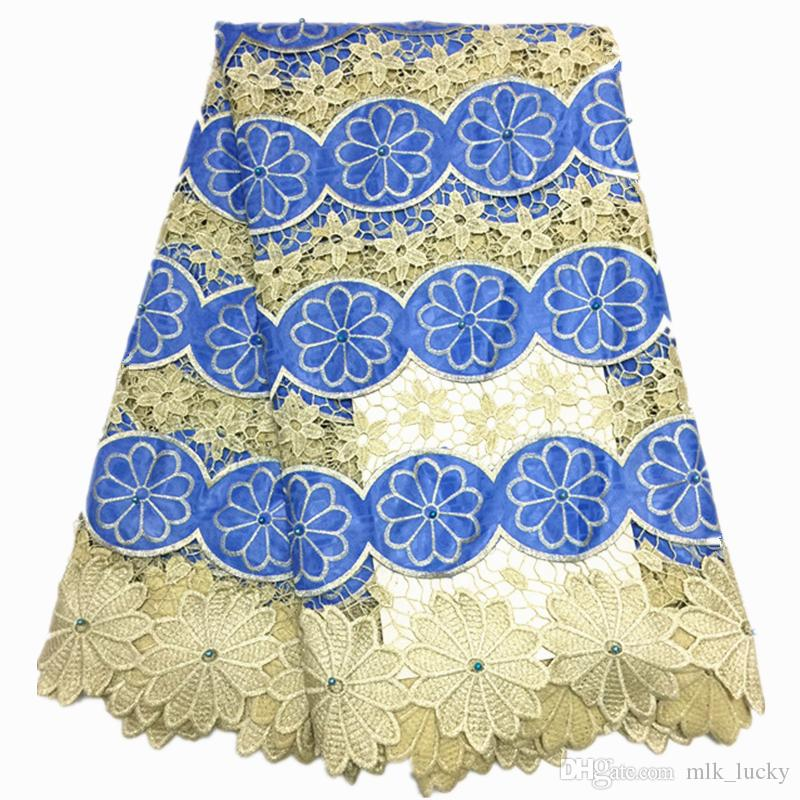 guipure lace fabric 5yard african cord lace fabric for wedding dresses african lace with beads