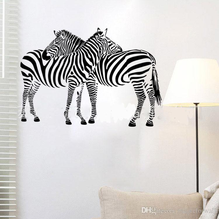 Two Zebra Hug together Wall Art Mural Decor Living Room Bedroom Wallpaper Decal Sticker Wall Art Applique
