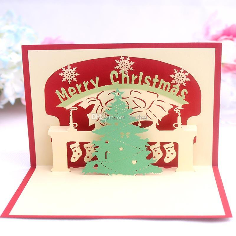 9 Design Christmas Card 3D Pop Up Greeting Card Christmas Bell Party Invitations Paper Card Personalized Keepsakes Postcards Gift WX9-129