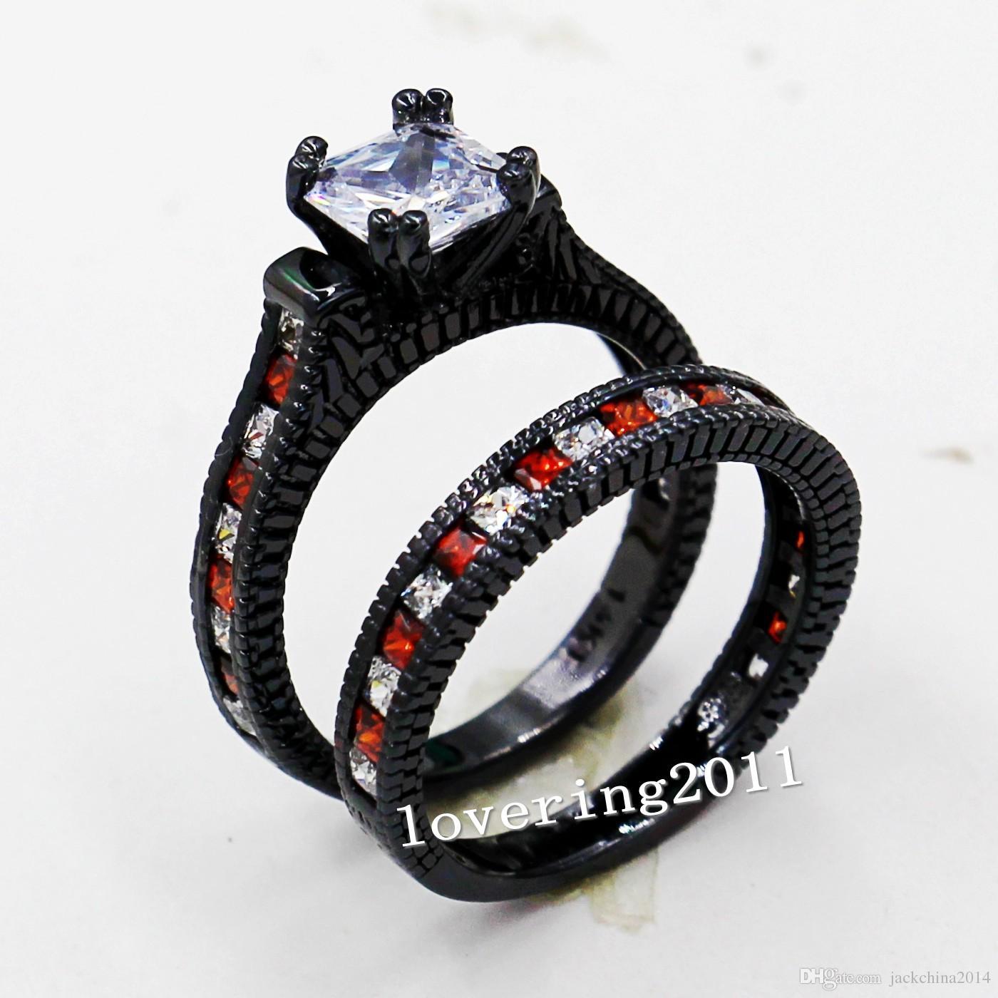 Tamaño 5-11 Retro Joyería de Moda 14kt oro negro lleno de Granate Rojo Multi piedra CZ Diamante Simulado de las mujeres Anillo de Compromiso de Boda set regalo