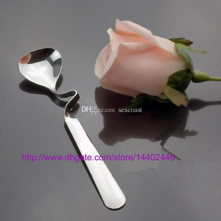 100шт новый чай кофе мед напиток очаровательны нержавеющей стали изогнутые витой ручкой ложка U обрабатываются V ручка ложки варенья
