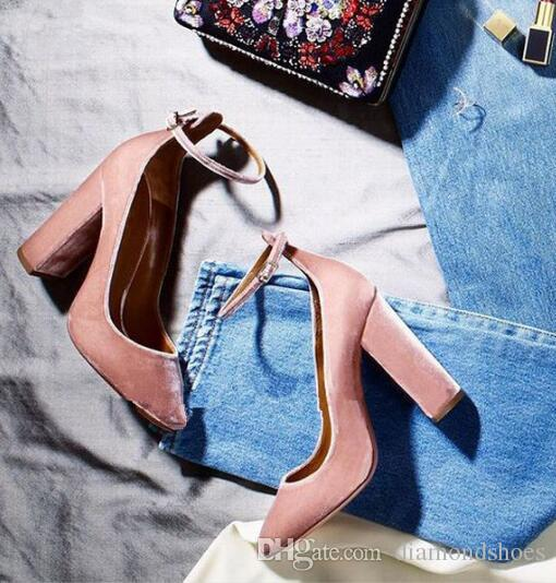 Latest Fashion Lady Talons Sexy Pointed Toe Pumps Wine Pink Party Evening Shoes Woman Ankle Strap Velvet Block Heels Woman