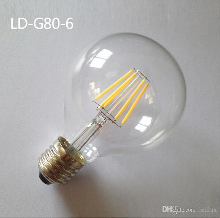 4W / 6W / 8W 110V-220V 360 درجة G80 E27 E26 B22 LED لمبة الشعيرة ، عكس الضوء G80 LED لمبة G80 LED خيوط