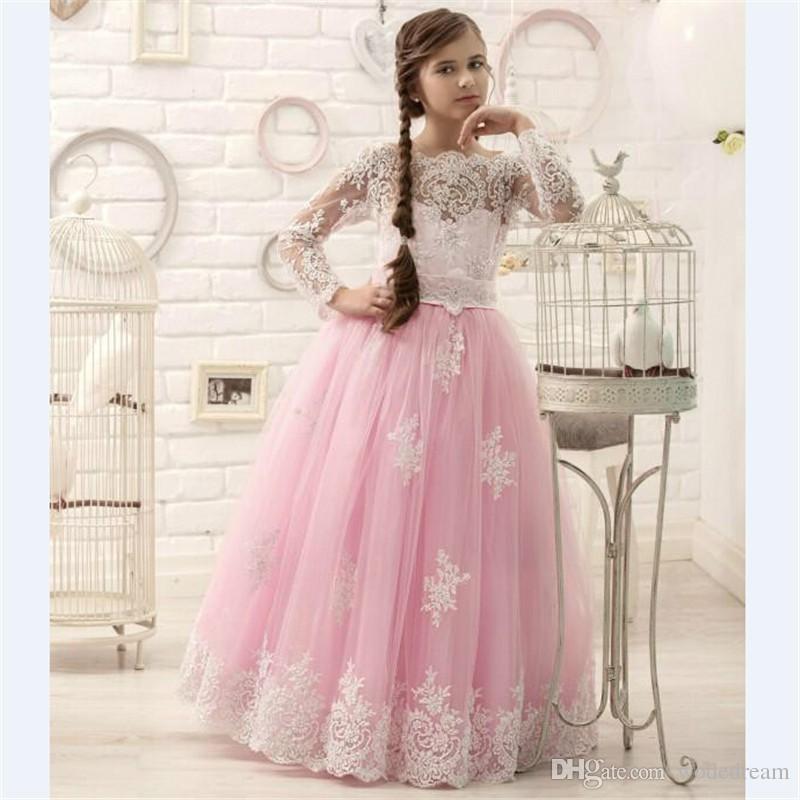 2018 Hot Pink Floor Length Flower Girl Dresses Long Sleeves Appliques  Pageant Dresses For Little Girls Hot Design Girl Dresses For Wedding Girls  Flower ... dff803c987af