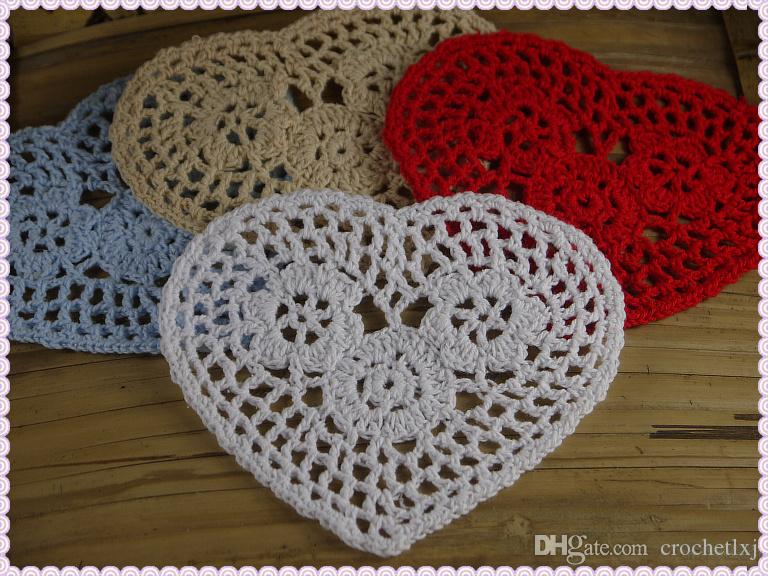 wholesale 100% cotton hand made Shaped Heart crochet doily lace cup mat vase mat, coaster 12cm table mat