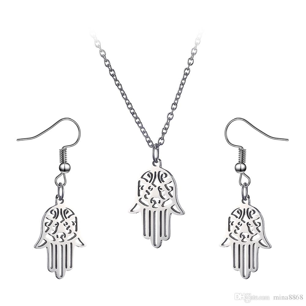 Hot Sales silver color hollow out hamsa hand clavicle chain for women jewelry fatima hand necklaces colar gift wholesale