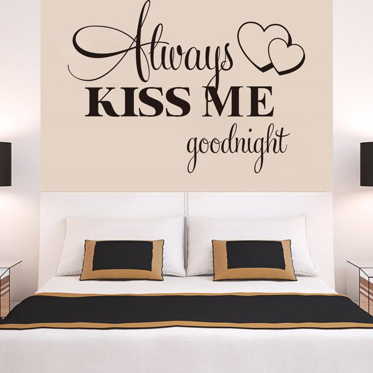 Romantic Bedroom Wall Decals hot sale always kiss me goodnight loving quote wall decal romantic