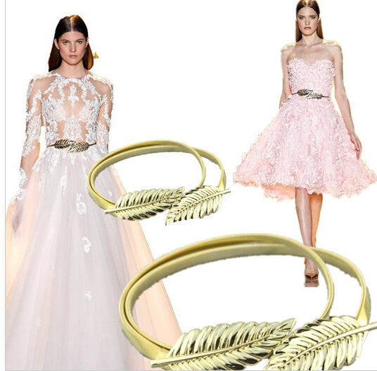 Cheap High Quality In Stock Adjustable Zuhair Murad Matching Gold/Silver leaves Belts For Wedding dresses Belt Bridal Sashes Free Shiping