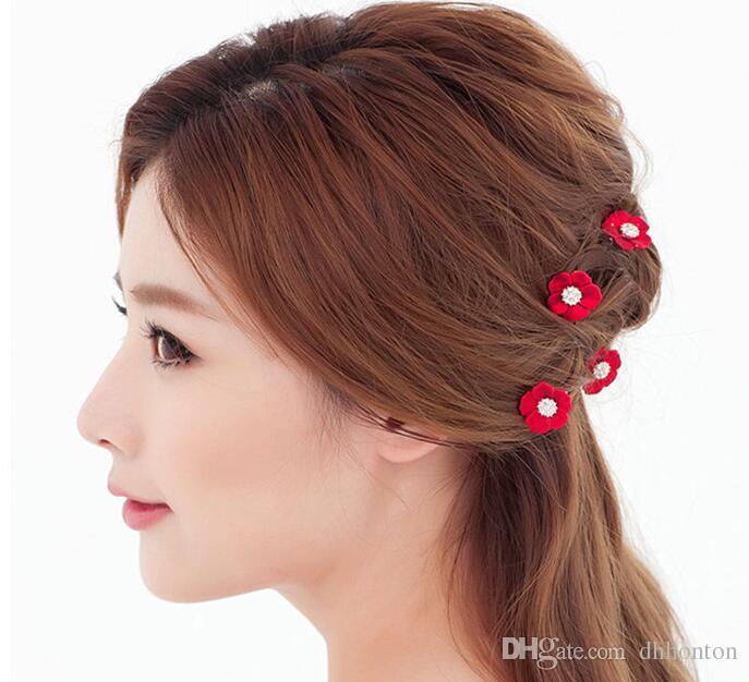 Horquillas horquillas coreanas horquillas perlas para el pelo novia de las flores del pelo de las mujeres al por mayor accesorios para el cabello novia tiara HT051