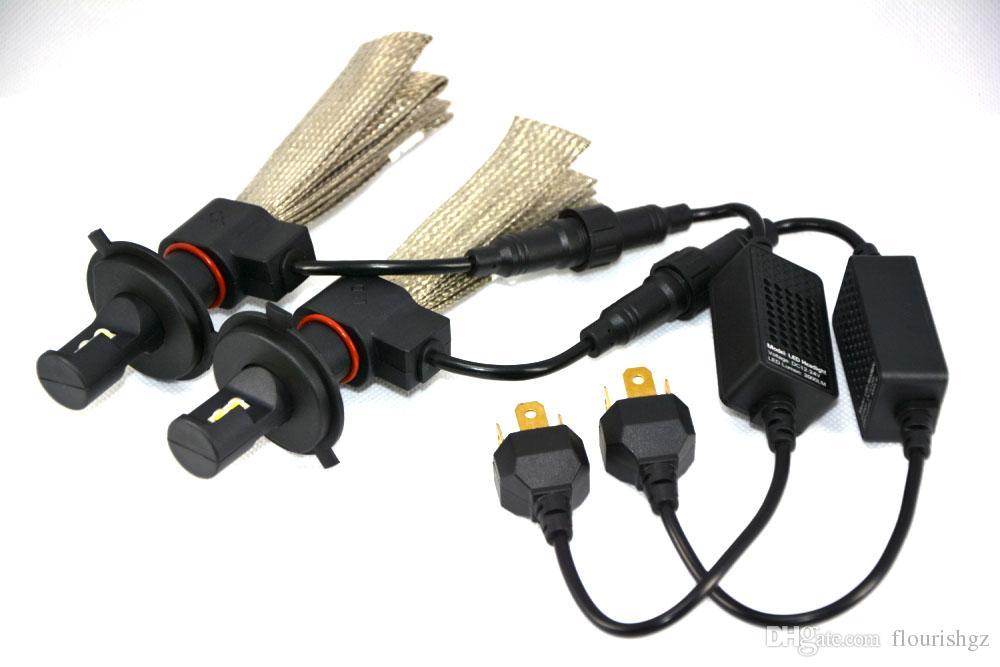 1 Takım H4 9003 HB2 40 W 6000LM CREE LED Far LUXEON MZ CHIP Yüksek / Düşük Işın Xenon Beyaz 6500 K 12/24 V Bakır Kemer H13 9004/9007 LED Kiti