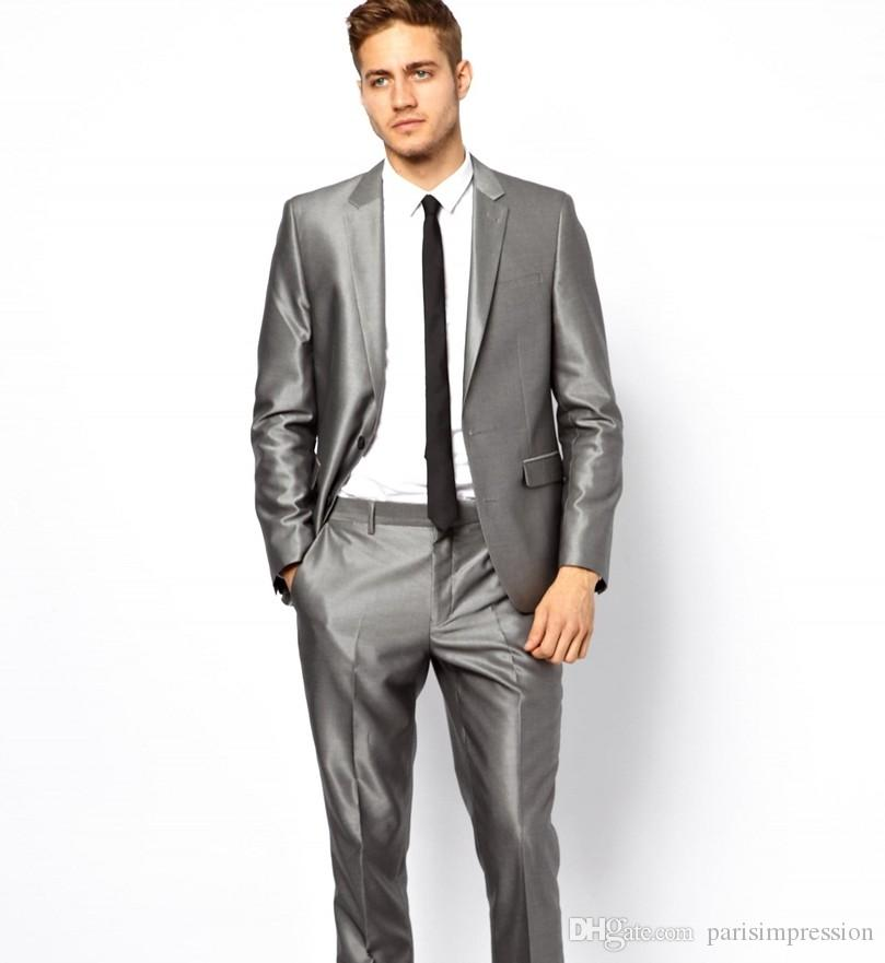 Tuxedos for Men Silver Gray Wedding Suits for Men Men Suits Slim Fit ...