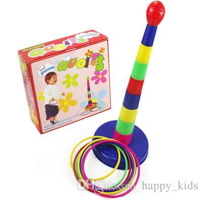 طفل لعبة أطفال الأطفال في الهواء الطلق الملونة البلاستيك الدائري إرم quoits حديقة لعبة لعبة تلعب مجموعة ألعاب الأسرة لغز لعبة في الهواء الطلق