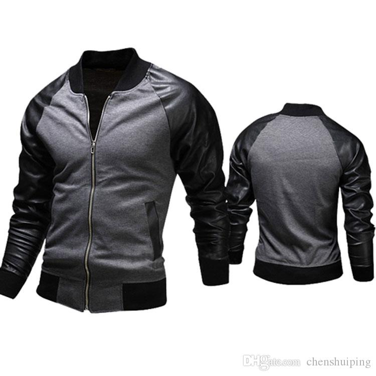 New fashion Jacket,Personalized Baseball Stitching Clothes Leather slim fit Jacket,Outerwear & Coats For Men
