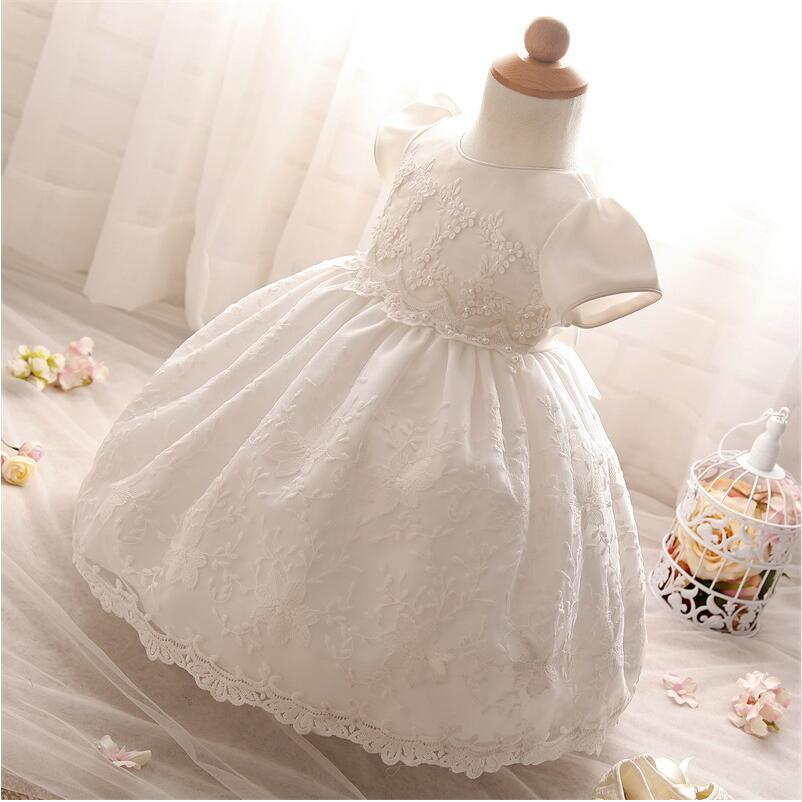a8abec5260959 Wholesale- Baby Frock Design Toddler Girl Lace Christening Gown White Tulle  Infant Princess Baptism Dress Baby Girls 1st Birthday Outfits