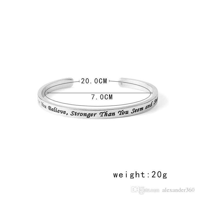 Fashion Jewelry You Are Braver Than You Believe Bracelets Bangles for Women Silver Plated Alloy Bangles