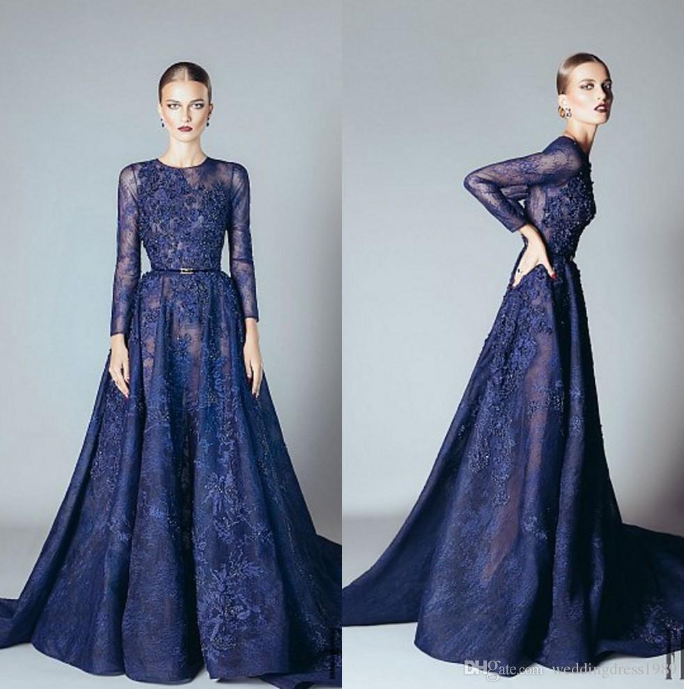 Trendy Lace Navy Blue Evening Dresses Long Sleeve Sash Beads ...