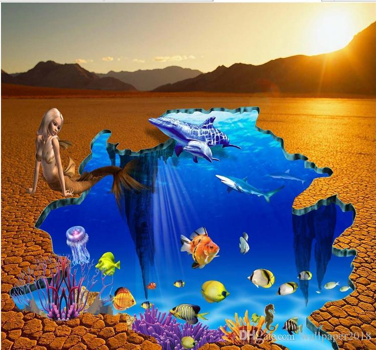 Sea world outdoor floor painting map 3d flooring for living room and bedroom