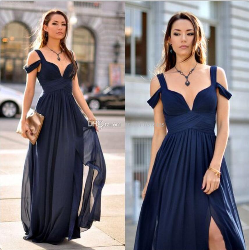 f1da7c7d24345 Sweetheart A-Line Navy Blue Cheap Bridesmaid Dresses Chiffon Pleats Elegant Long  Wedding Guest Dresses High Leg Slit Wedding Party Gowns Long Bridesmaid ...