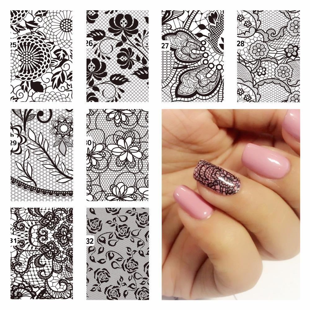 Diy Nail Water Decals Lace Flower Designs Transfer Stickers Nail Art ...