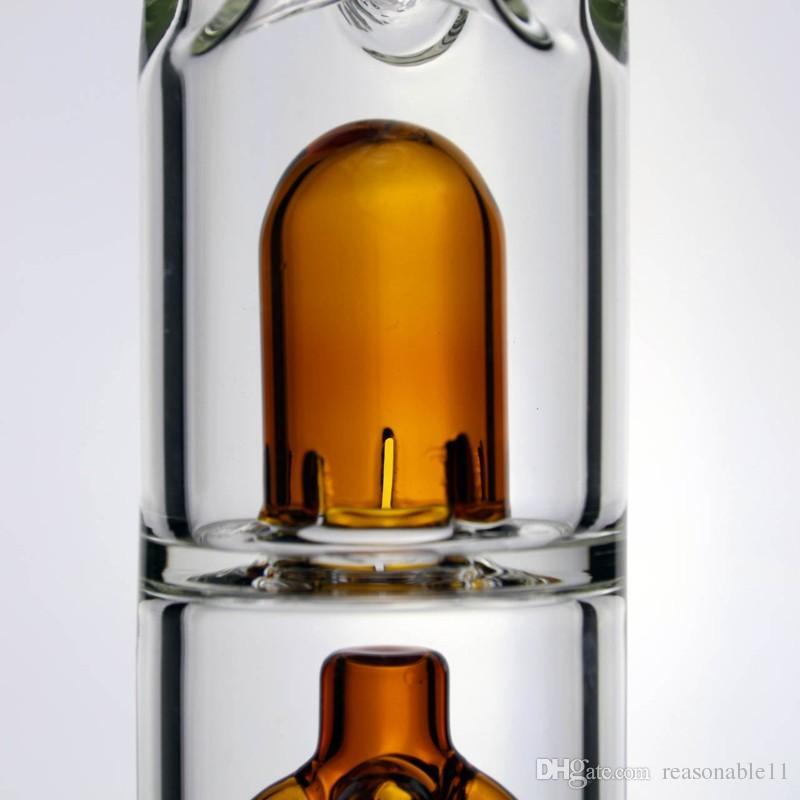 12 pollici in vetro Bong Tubature dell'acqua con 4 bracci Albero Percolator Slitted Dome Diffuse Perc 3 Ice Pinch con Beaker Base