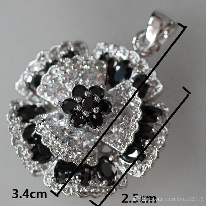 빈티지 아름다운 고귀한 관대 MN919 클래식 흑백 큐빅 지르코니아 베스트 셀러 구리 로듐 도금 좋아하는 펜던트 패션