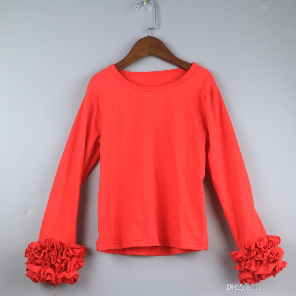 classic red t shirts for girls christmas dress icing long sleeve ruffle shirts wholesales o neck for kids shirts girls icing shirt ruffle shirt wholesales - Girls Christmas Shirts