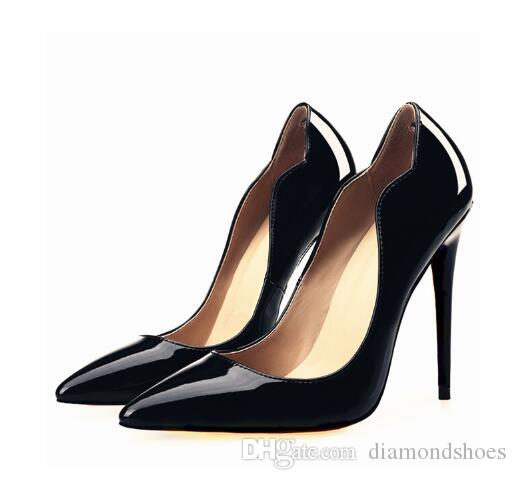 Famous Brand Ladies Shoes Sexy Pointed Toe Scalloped High Heels Patent Leather Curved Sides Women Pumps Cheap Black Heels