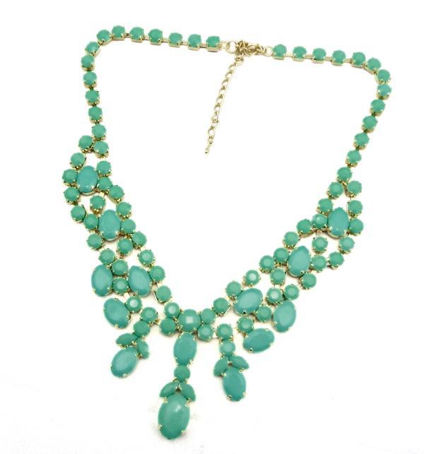 Nova Moda Ouro Resina De Metal Gem Stone Encantador Gargantilha Bib Colar mulheres jóias