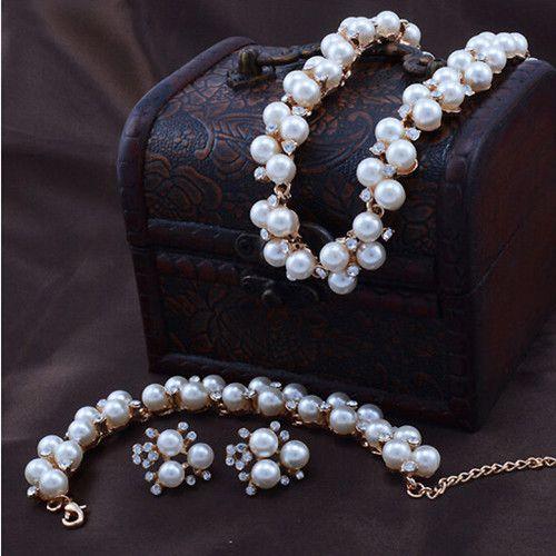 Garantia de boa qualidade 100% !! Nupcial de casamento PearlCrystal conjunto de jóias de ouro tom conjunto de jóias 631
