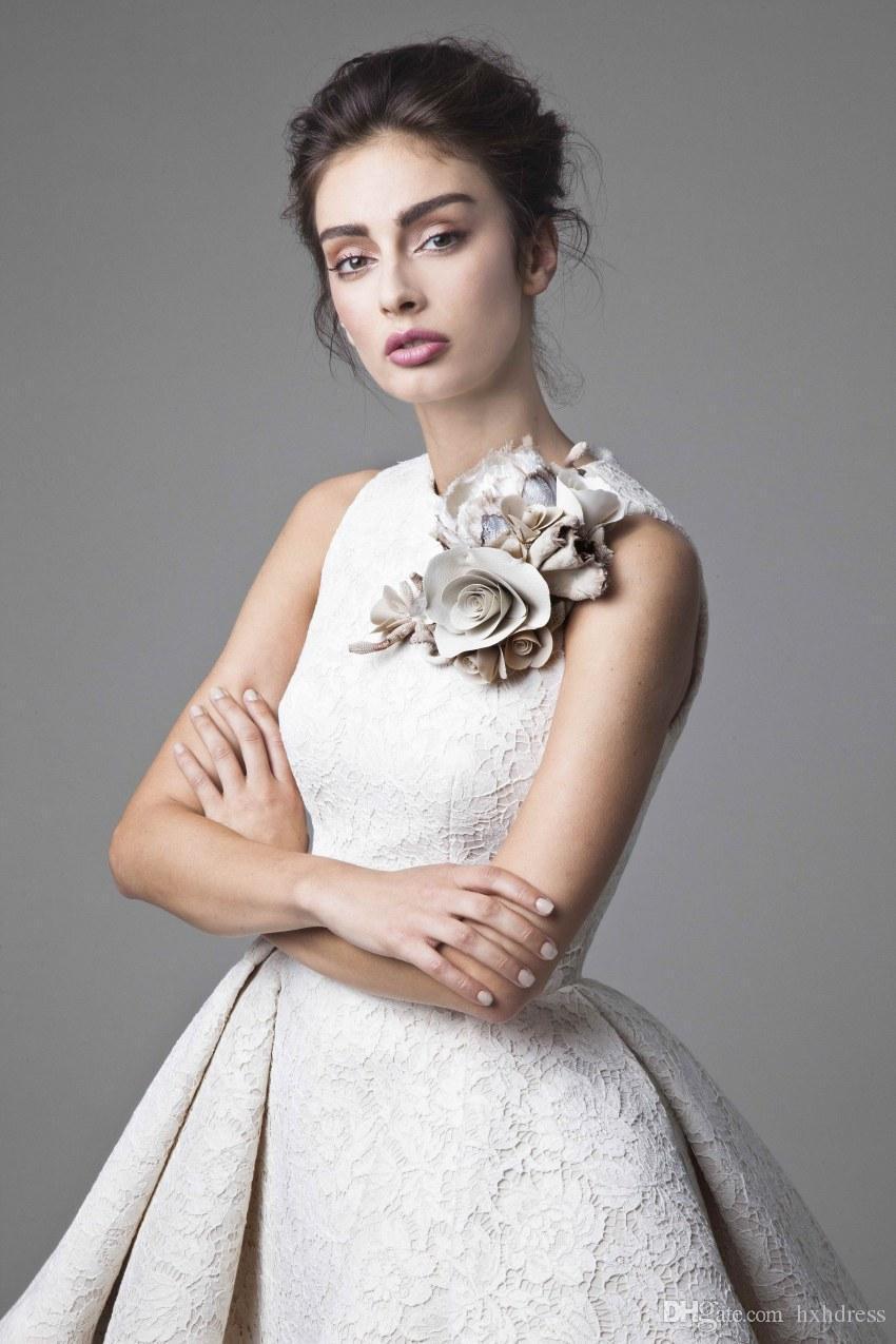 2018 Neue Spitze Hochzeitskleid Krikor Jabotian Jewel Ärmellose High Low Brautkleider Kurze A-Line Strand Brautkleider Mit Blume 244