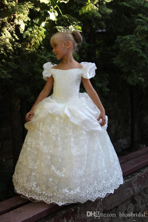 Princess Lace Flower Girl Dresses Off The Shoulder Satin Floor Length A Line kids Party Cosplay Pageant Gowns