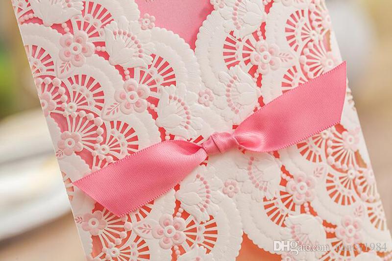 最新のスタイルの花の結婚式の招待状カード結婚のピンクの長方形の招待状習慣の習慣