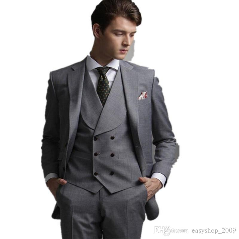 Fashion classic gray Slim Men groom tuxedo suit and men's office suit jacket + pants + vest custom made