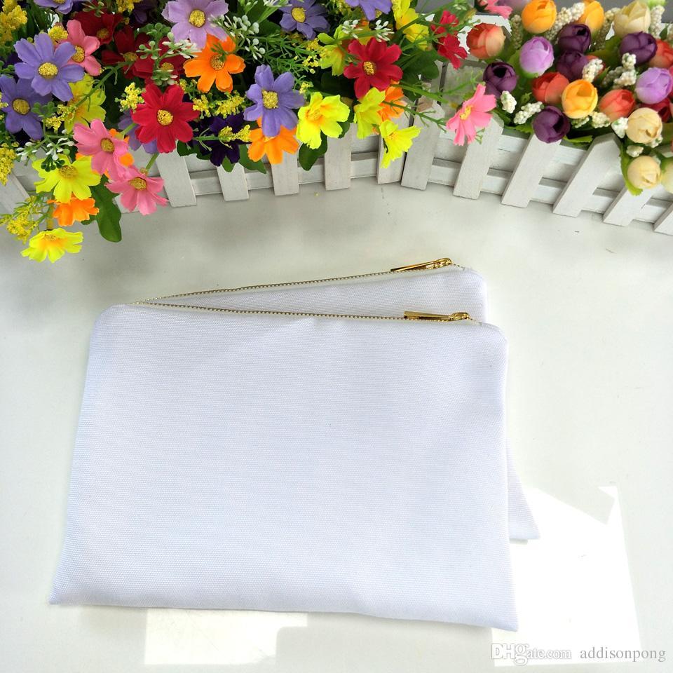 / sacchetto di tela di poliestere bianco stampa a sublimazione con fodera bianca sacchetto cosmetico bianco-oro con zip stampa a trasferimento termico