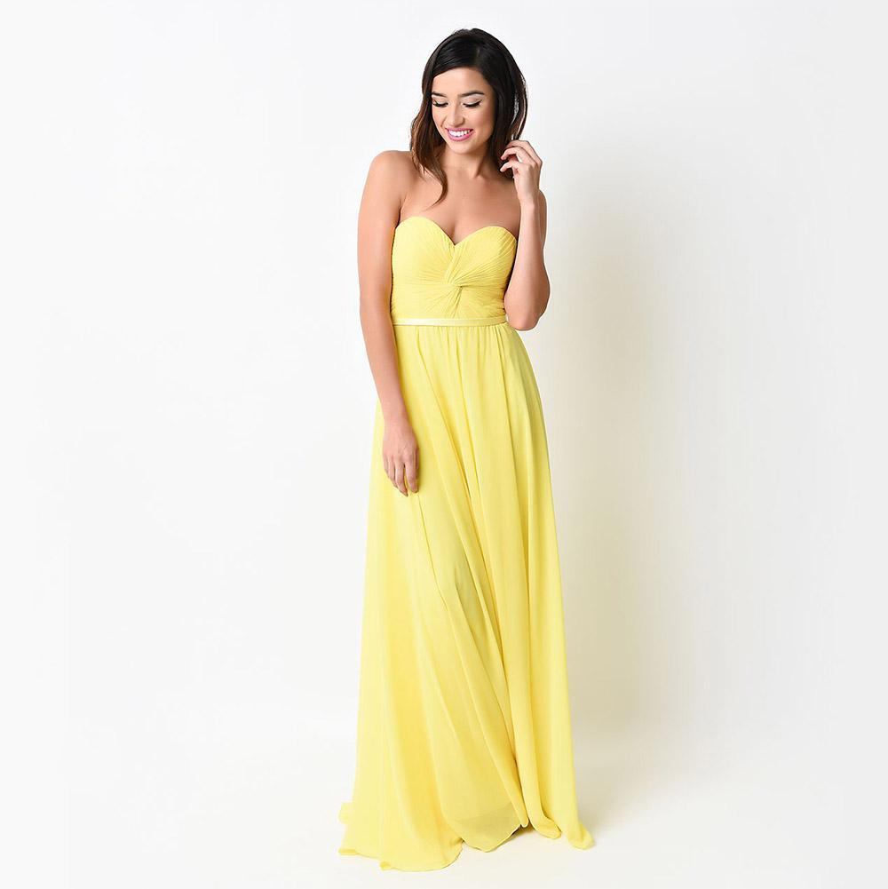 Yellow long bridesmaid dresses sweetheart chiffon pleated yellow long bridesmaid dresses sweetheart chiffon pleated bridesmaids formal gown dress lace up floor length plus size western bridesmaid dresses wholesale ombrellifo Choice Image