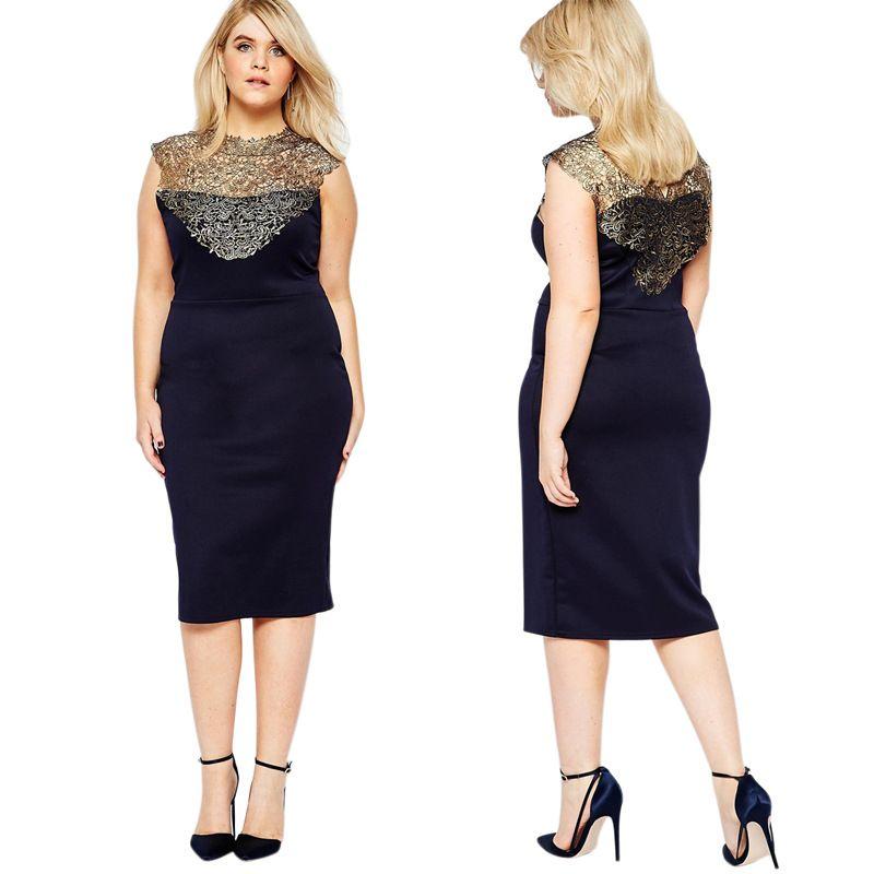 2016 Summer 2xl 8xl Women Dresses Plus Size Elegent Golden Lace