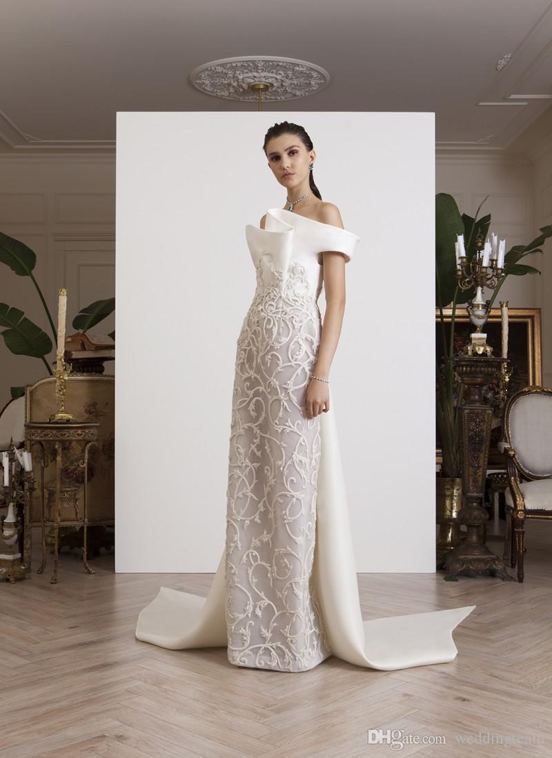 Fashion Column Abendkleider Off The Shoulder Applizierte Abendkleider Sweep Train Satin Formal Dress