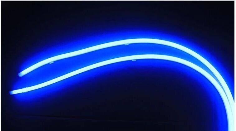 2 teile / los Tagfahrlicht Großhandel Auto LED Scheinwerfer Geändert Atmosphäre Silikon Lichtleiter Lampe Lichter Augenbrauen Lichter der Tränen Lange 60 CM
