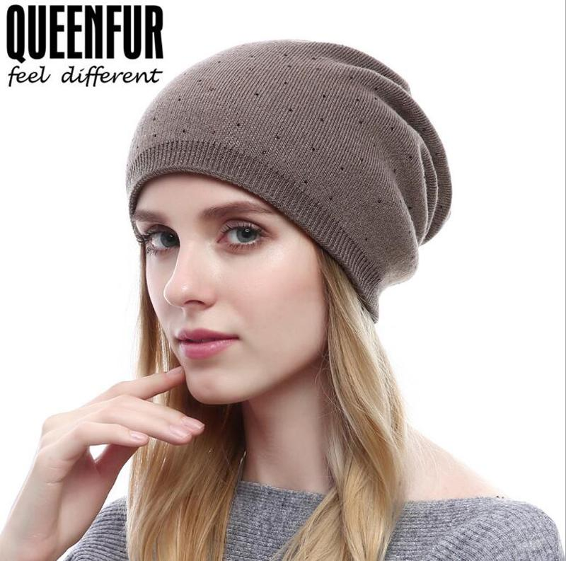 301ca0800e19d New Fashion Cashmere Knit Hat Ladies Autumn Winter Beanie Skull Cap Wave  Point Diamond Warm Hat Watch Cap Fitted Caps From Jianyuan1