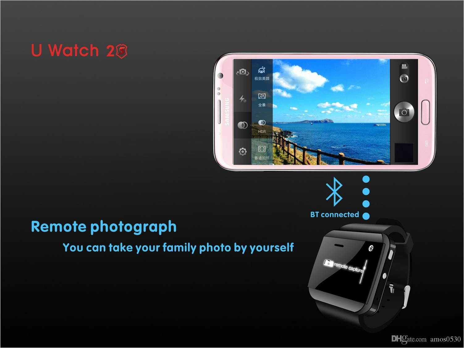 U Watch 2S Wrist Nano Waterproof Bluetooth V3.0 Smart Wristwatch Healthy Bracelet Watch Multi-Languages For Android IOS Phone