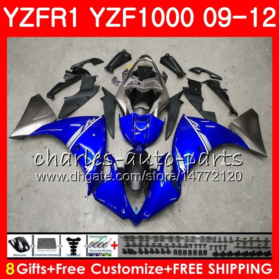 Carrosserie Pour YAMAHA YZF 1000 R 1 YZF-1000 Usine bleue YZF-R1 09 12 Carrosserie 85HM20 YZF1000 YZFR1 09 10 11 12 YZF R1 2009 2010 2011 2011 2012 Carénage