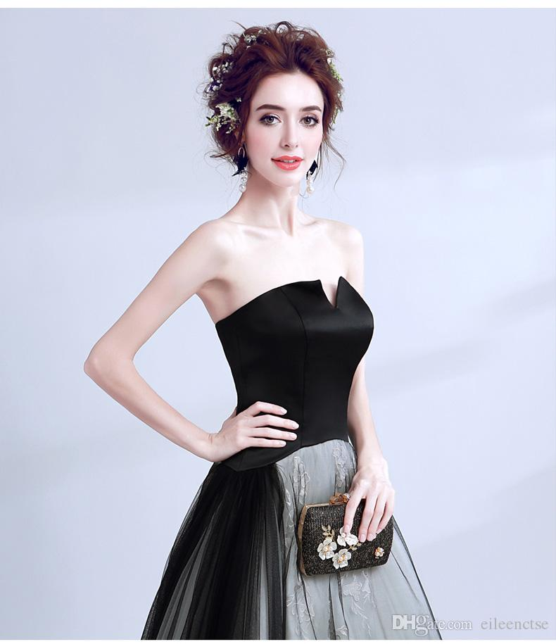 New arrival 2017 Black BALL GOWN PROM dress for women strapless lace-up elegant lady clothing in boutique