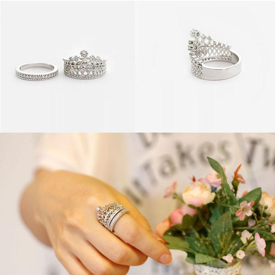Princess Crown Diamond Ring Queen Crystal Band Wedding Ring Double Band  Silver Rings 2015 Free Shipping