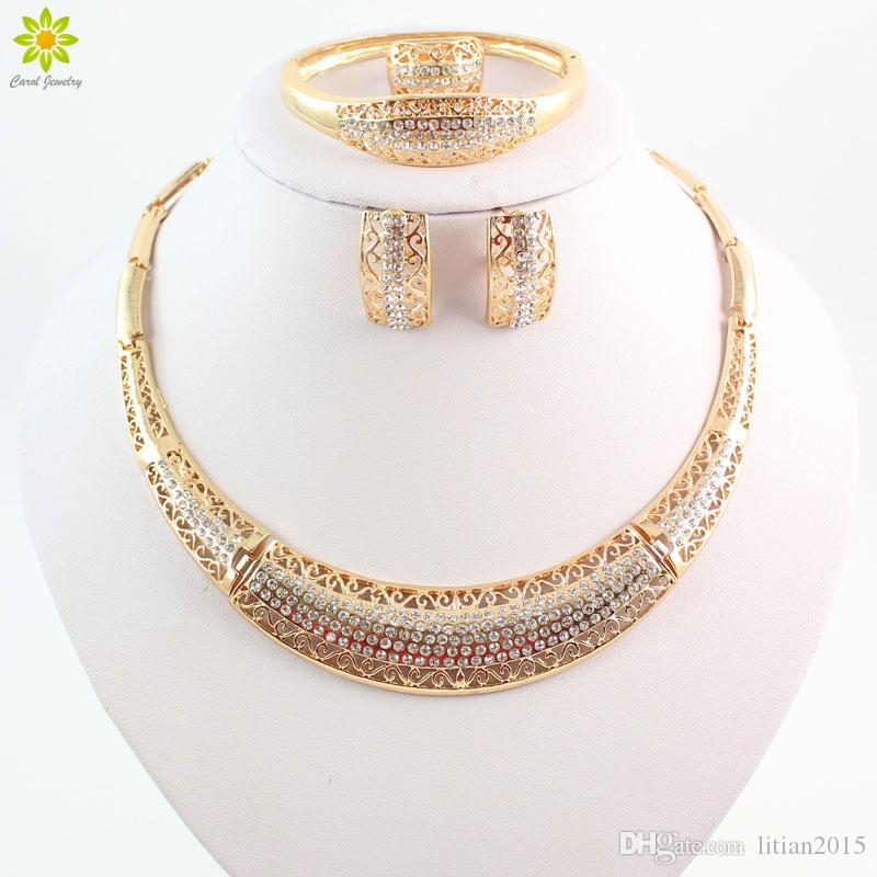44c97b973b2cf New Design African Costume Jewelry Sets 18K Gold Plated Fashion Wedding  Women Bridal Accessories Necklace Earrings Set