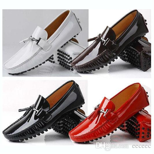 8547fd0f0d678 Big Size 11 12 EUR 45 46 Brand NEW Genuine Leather Men Red Tassel Slip On Casual  Diving Shoes Loafer Dress Shoe Patent Leather Comfort Shoes Sneakers Online  ...