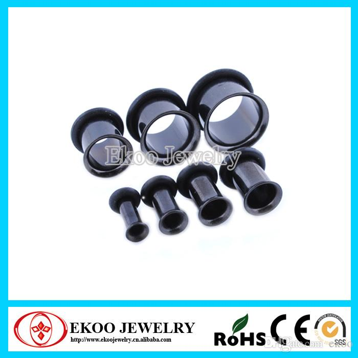 Negro Single Flared Plug Cheap Ear Gauges Pugs con O-ring18mm-30mm Mixed Sizes Joyería del cuerpo O-ring Gauge Plugs